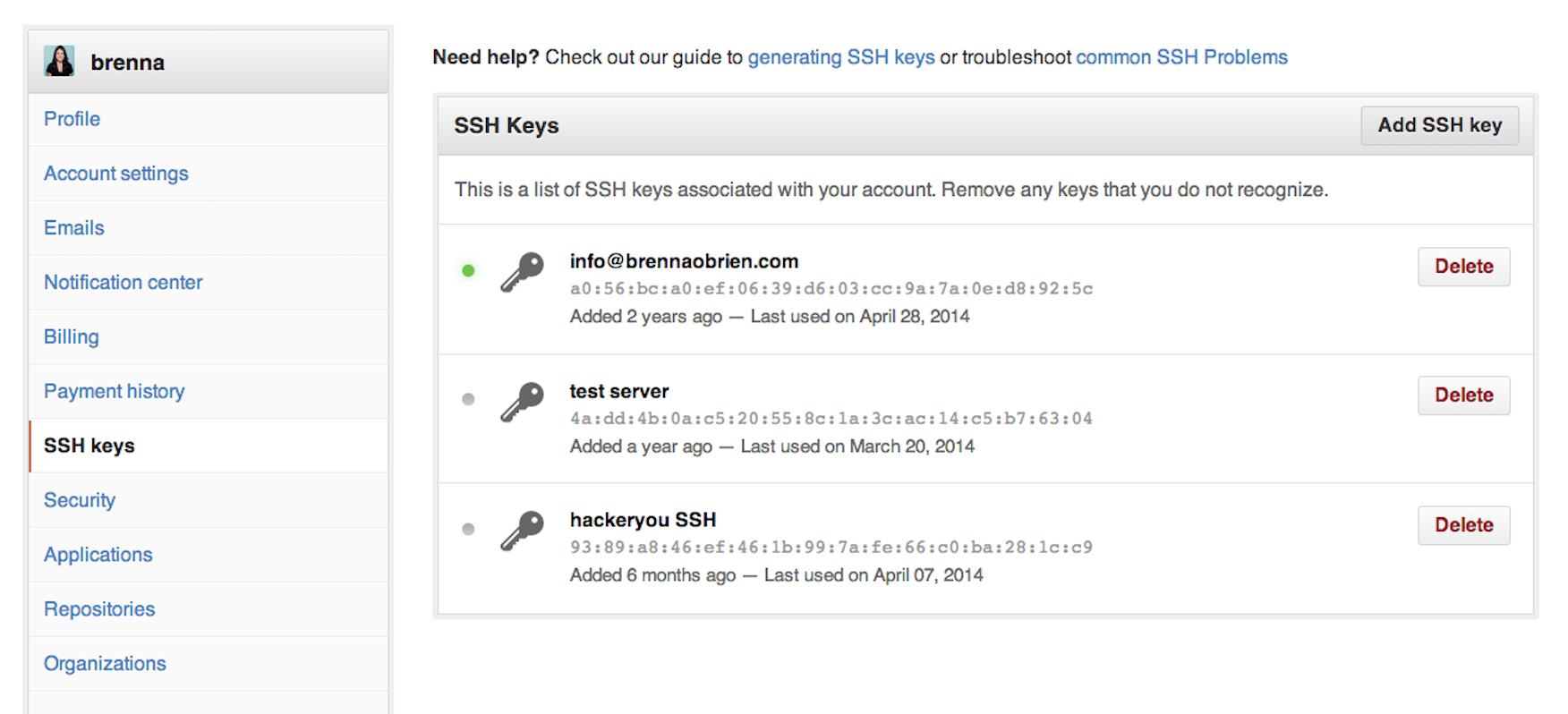 unix ssh key remove